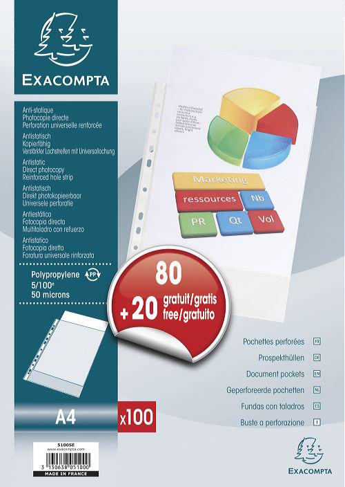 EXACOMPTA Prospekthülle, Promopack 80+20 GRATIS, DIN A4, PP
