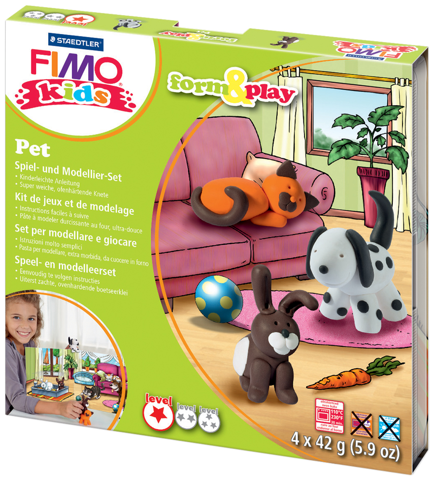 FIMO kids Modellier-Set Form & Play ´Pet´, Level 1