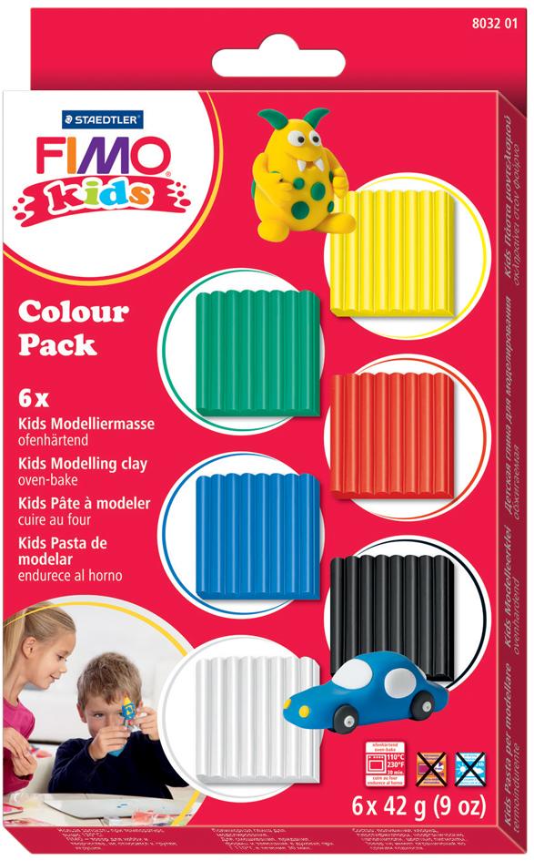 FIMO kids Modelliermasse-Set Colour Pack ´basic´, 6er Set