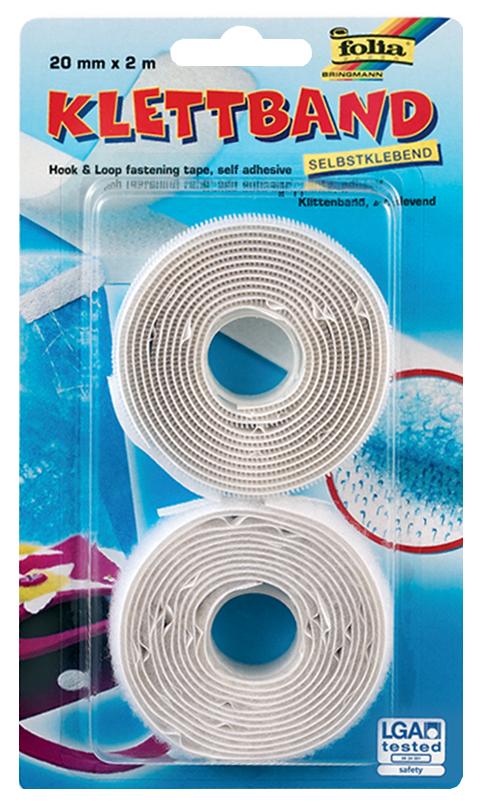 folia Klettband, 20 mm x 2 m, selbstklebend, weiß