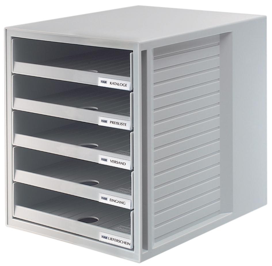 HAN Schubladenbox, 5 offene Schübe, Gehäuse: li...