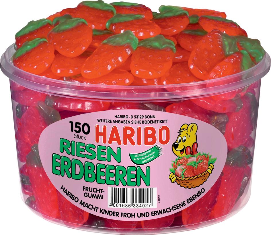 HARIBO Fruchtgummi RIESEN ERDBEEREN, 150er Rund...