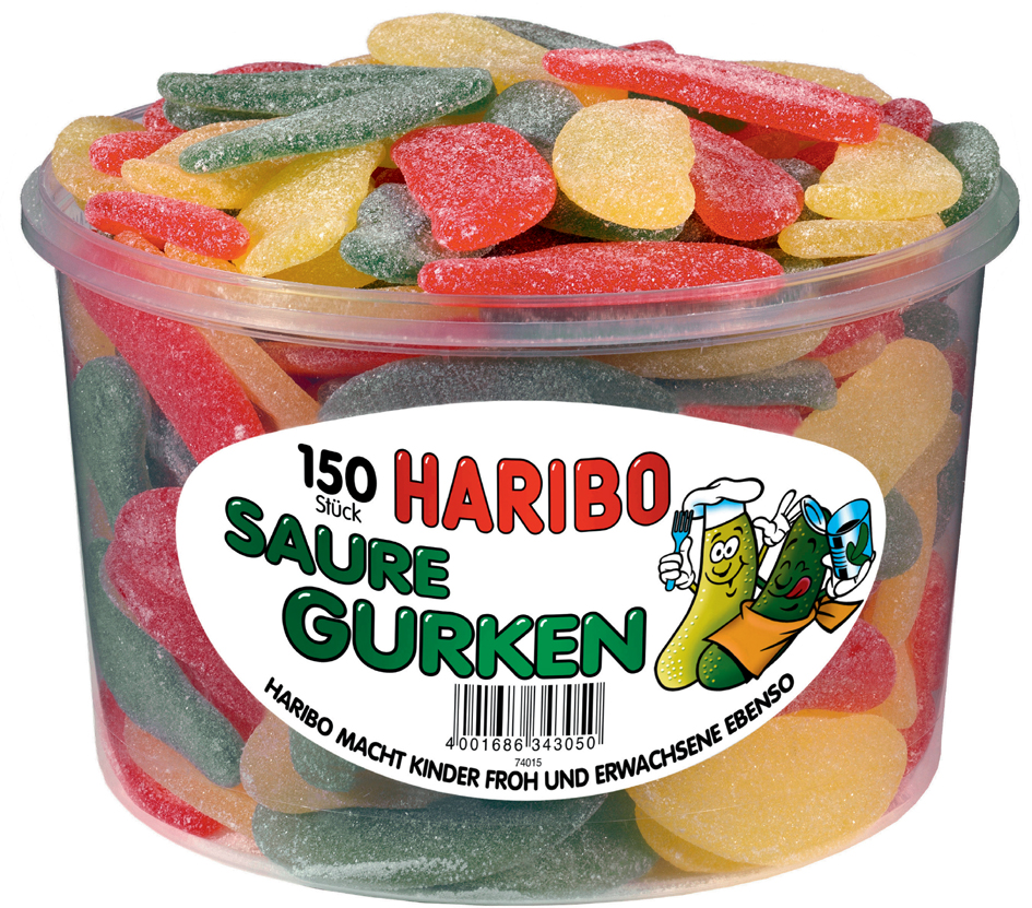 HARIBO Fruchtgummi SAURE GURKEN, 150er Runddose