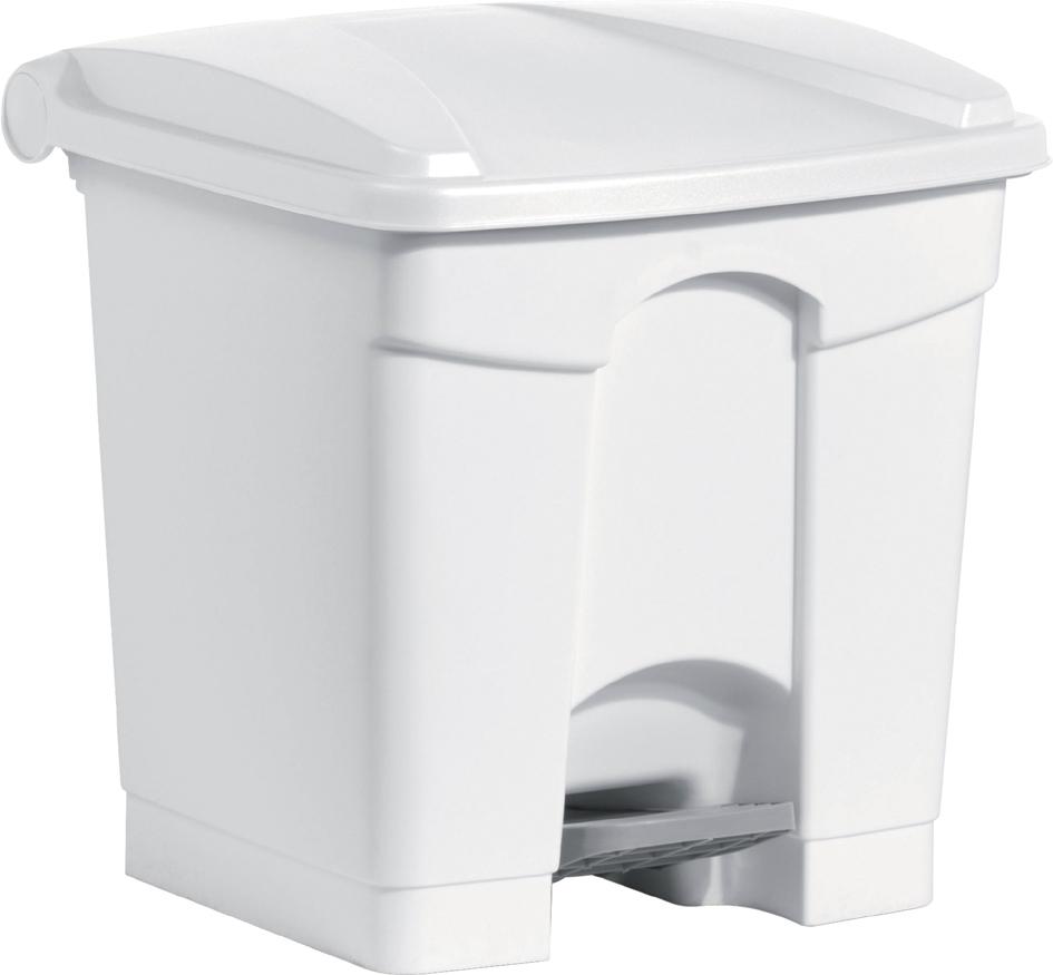 helit Tret-Abfalleimer, 30 Liter, weiß/weiß
