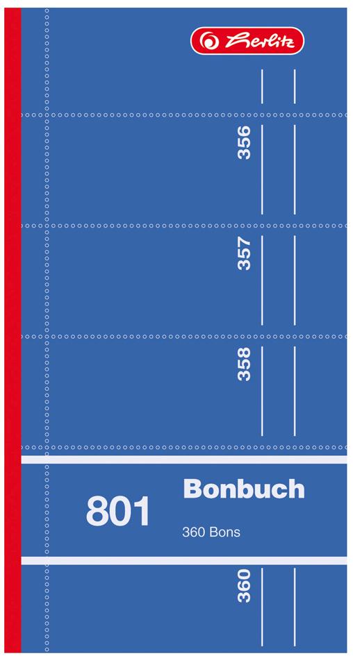 herlitz Formularbuch ´Bonbuch 801´, 90 x 198 mm...