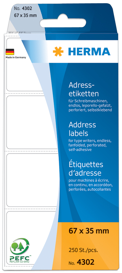 HERMA Adress-Etiketten, 95 x 48 mm, Leporello g...