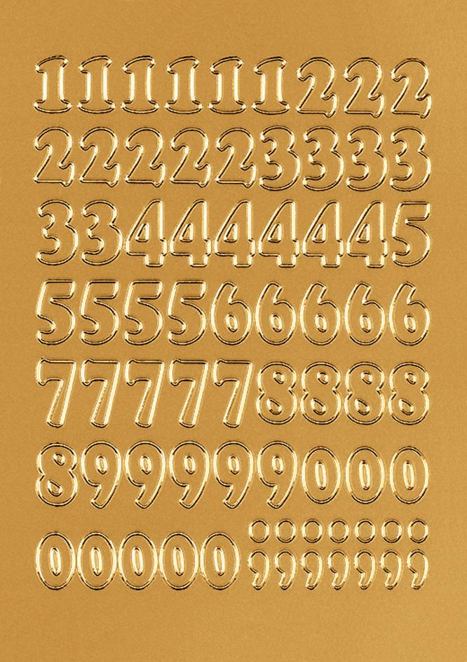 HERMA Zahlen-Sticker 0-9, Folie gold, Zahlen ge...