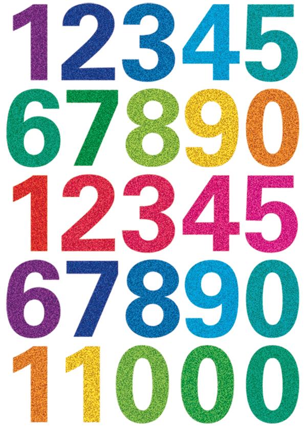 HERMA Zahlen-Sticker MAGIC GLITTERY 0-9, bunt b...