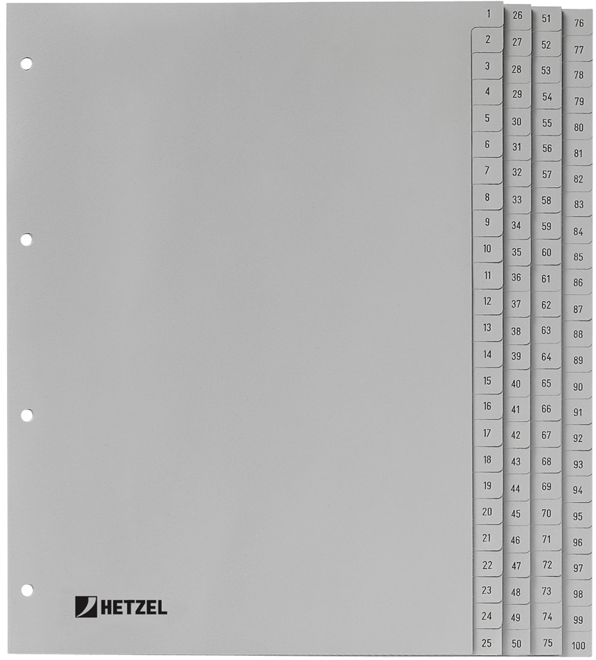HETZEL Kunststoff-Register, Zahlen, A4, 1-100, ...