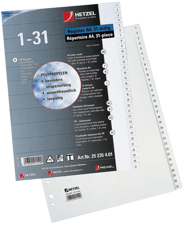 HETZEL Kunststoff-Register, Zahlen, A4, 1-20, P...