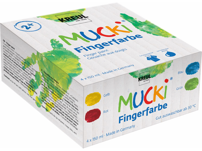 KREUL Fingerfarbe ´MUCKI´, 150 ml, 4er-Set