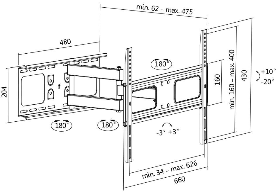 LogiLink TV-Wandhalterung Full Motion, für 96,9...