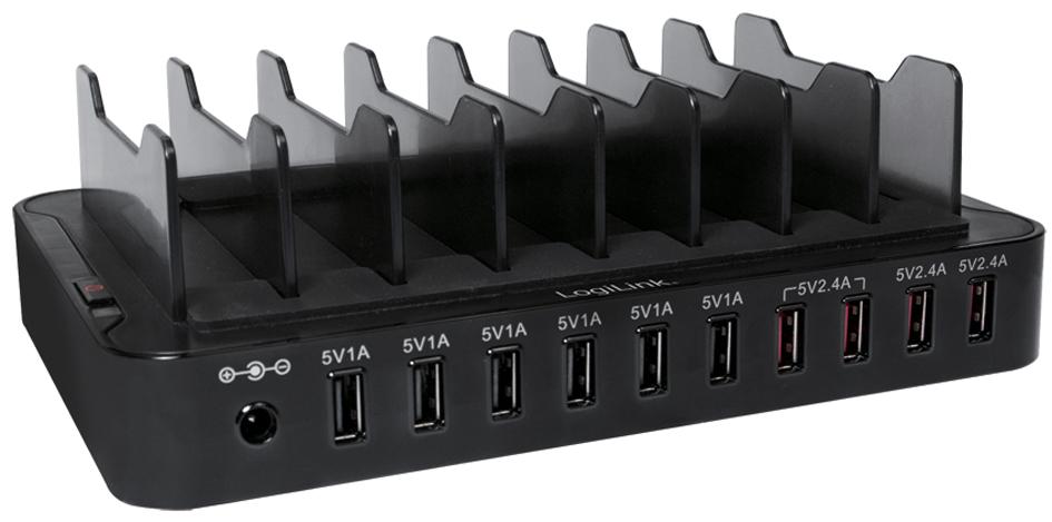 LogiLink USB-Ladestation, 10-Port, 66 Watt, sch...