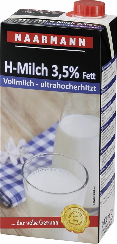 NAARMANN Milch Haltbare Vollmilch - 3,5 %, 1 Liter