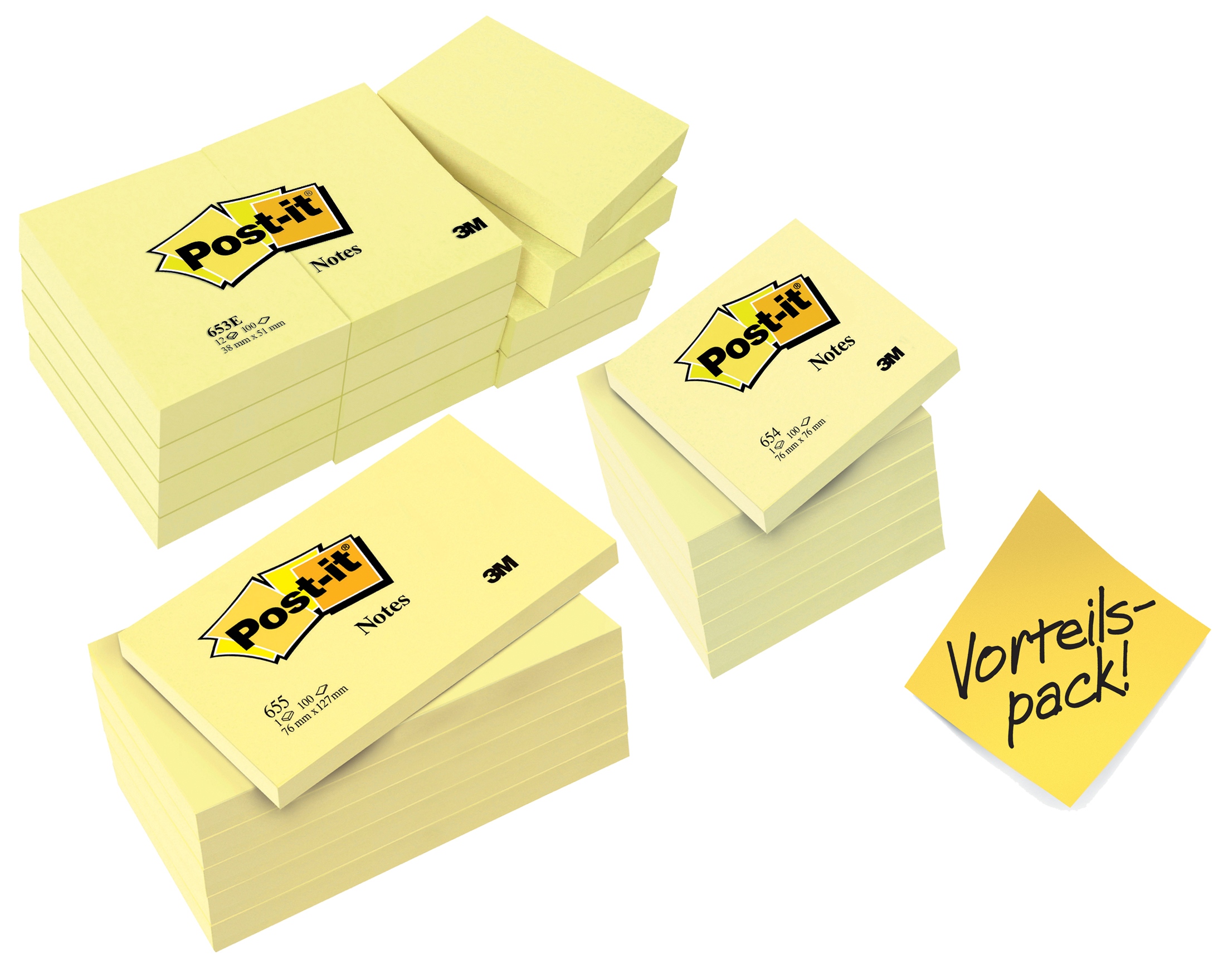 Post-it Haftnotizen, 76 x 127 mm, gelb, 5 + 1 GRATIS