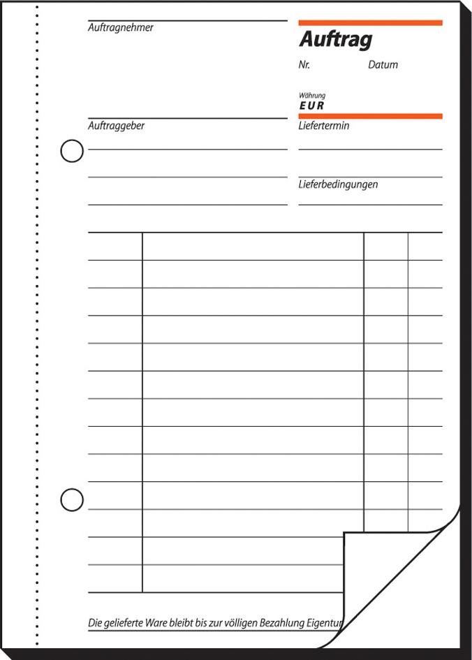 sigel Formularbuch ´Auftrag´, A5, 2 x 40 Blatt, SD