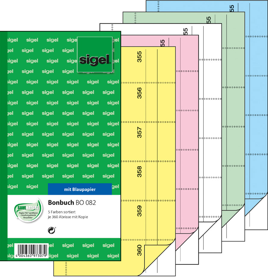 sigel Formularbuch ´Bonbuch´, 105 x 200 mm, far...