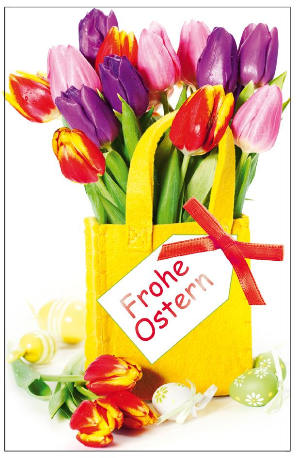 SUSY CARD Oster-Grußkarte ´Tulpen in Filztasche´