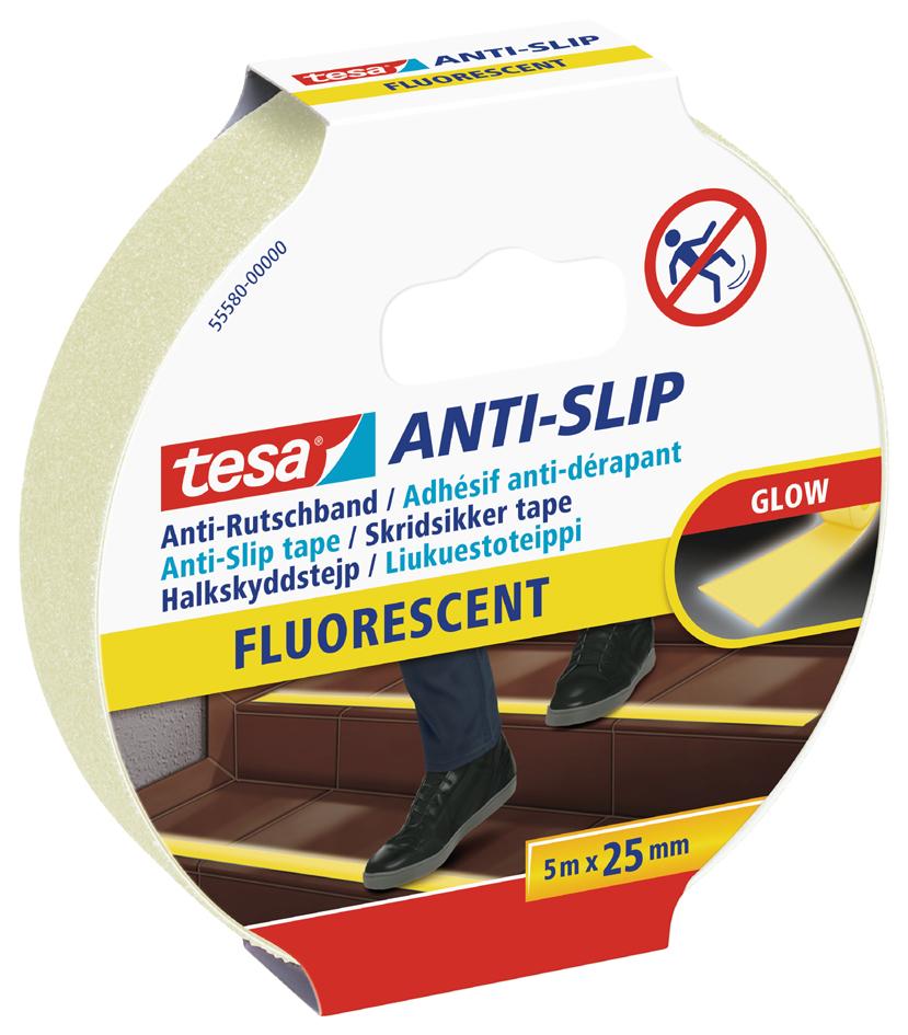 tesa Anti-Rutschband, 25 mm x 5,0 m, fluoreszie...
