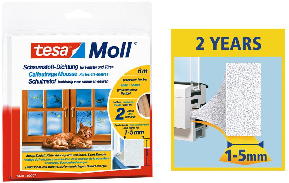 tesa Moll UNIVERSAL Schaumstoff-Dichtung, weiß, 15 mm x 6 m