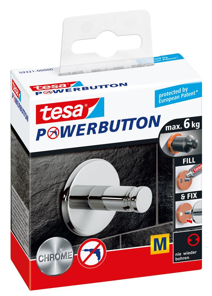 tesa Powerbutton Haken Universal medium, chrom