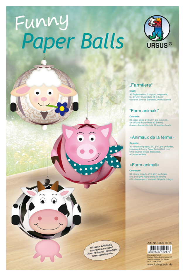 URSUS Designstreifen Funny Paper Balls ´Farmtiere´