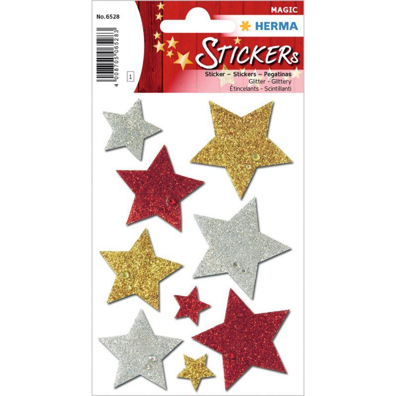 """HERMA Weihnachts-Sticker MAGIC /""""Sterne silber/"""" glittery 1 Blatt à 26 Sticker"""