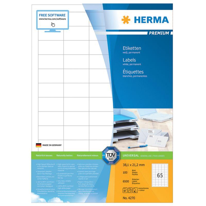 weiß Großpackung HERMA Vielzweck-Etiketten 52 x 100 mm