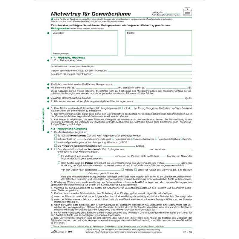 Rnk Verlag Vordruck Mietvertrag Für Gewerberäume Din A4 59810