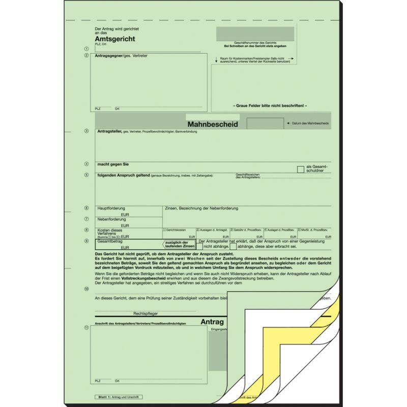 Sigel Vordruck Mahnbescheid A4 Sd 2 X 2 Blatt Ma441