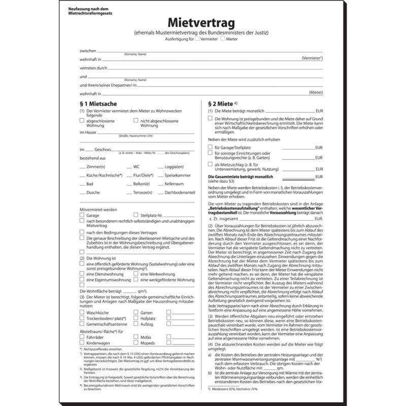 Sigel Vordruck Mietvertrag A4 4 Seitig Mv464