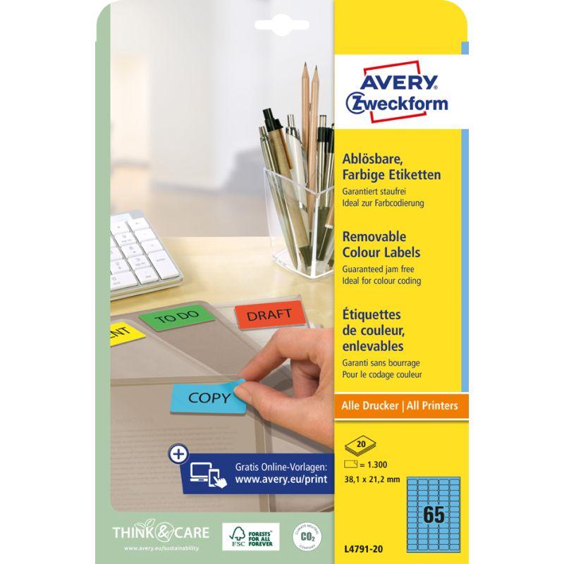AVERY Zweckform Stick/&Lift Etiketten 38,1 x 21,2 mm grün 1.300 Etiketten