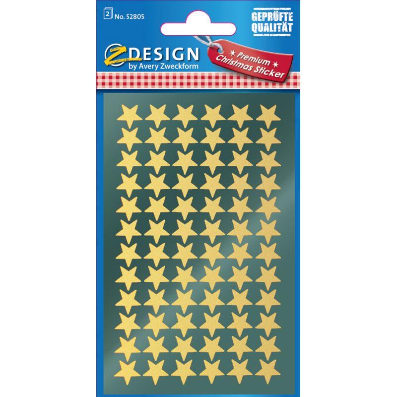 """AVERY Zweckform ZDesign Weihnachts Sticker /""""Sterne/"""" gold 2 Blatt à 39 Sticker"""