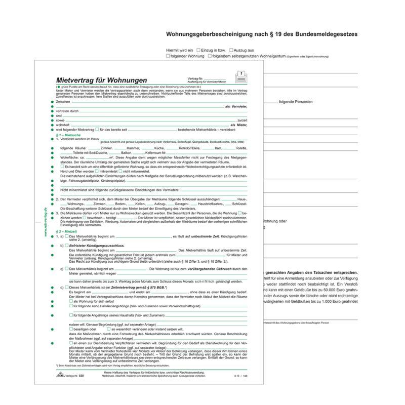 Rnk Verlag Vordruck Mietvertrag Für Wohnungen Din A4 52510