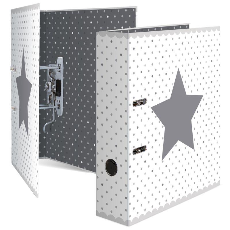 """HERMA Motivordner /""""Stars/"""" Grau mit weißen Sternen DIN A4"""