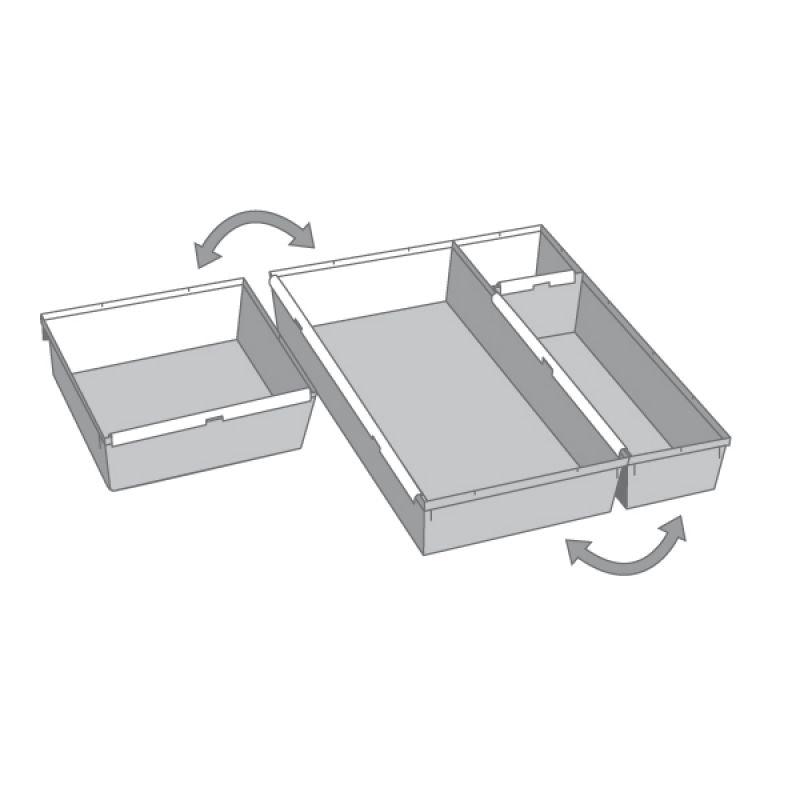 Schubladeneinsätze ok schubladeneinsatz b 150 x t 380 x h 50mm pp silber