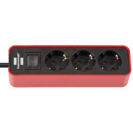 brennenstuhl Steckdosenleiste Ecolor 3-fach, schwarz / rot