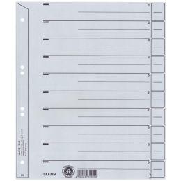 LEITZ Trennblätter, A4 Überbreite, Kraftkarton 200g/qm, grau