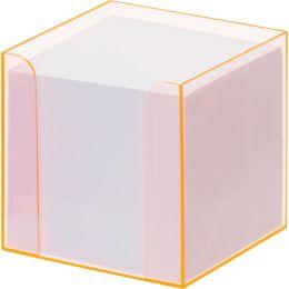folia Zettelbox Luxbox mit Leuchtkanten, orange, bestückt