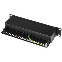 LogiLink 10 Patch Panel Kat. 6A, 12-Ports, schwarz, 1HE