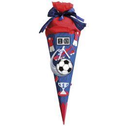 ROTH Schultüten-Bastelset Soccer rot/blau, 6-eckig, 680 mm