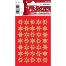HERMA Weihnachts-Sticker DECOR Sterne, gold mit Ziffern