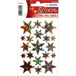 HERMA Weihnachts-Sticker DECOR Sterne, gold, Holografie