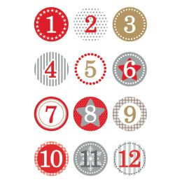 HERMA Weihnachts-Sticker DECOR Adventskalender, rot