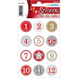 HERMA Weihnachts-Sticker DECOR Adventskalender, rot