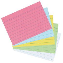 herlitz Karteikarten, DIN A8, liniert, farbig sortiert