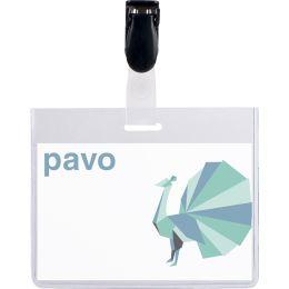 pavo Namensschild, oben geschlossen, mit Clip, 60 x 90 mm