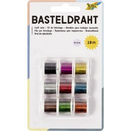 folia Basteldraht-Set, 9 Spulen à 2m, farbig sortiert