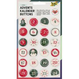 folia Adventskalender-Buttons, aus Blech, 1 - 24