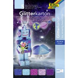 folia Glitterkarton Ice, 240 x 340 mm, 300 g/qm
